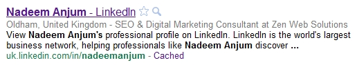 LinkedIn Profile in Google Search