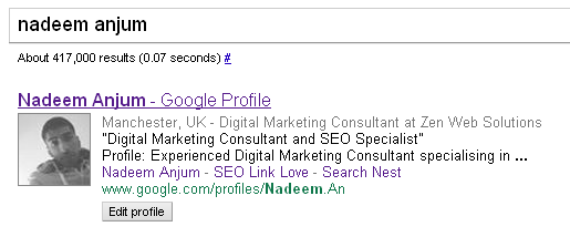 Google Profile in SERP's