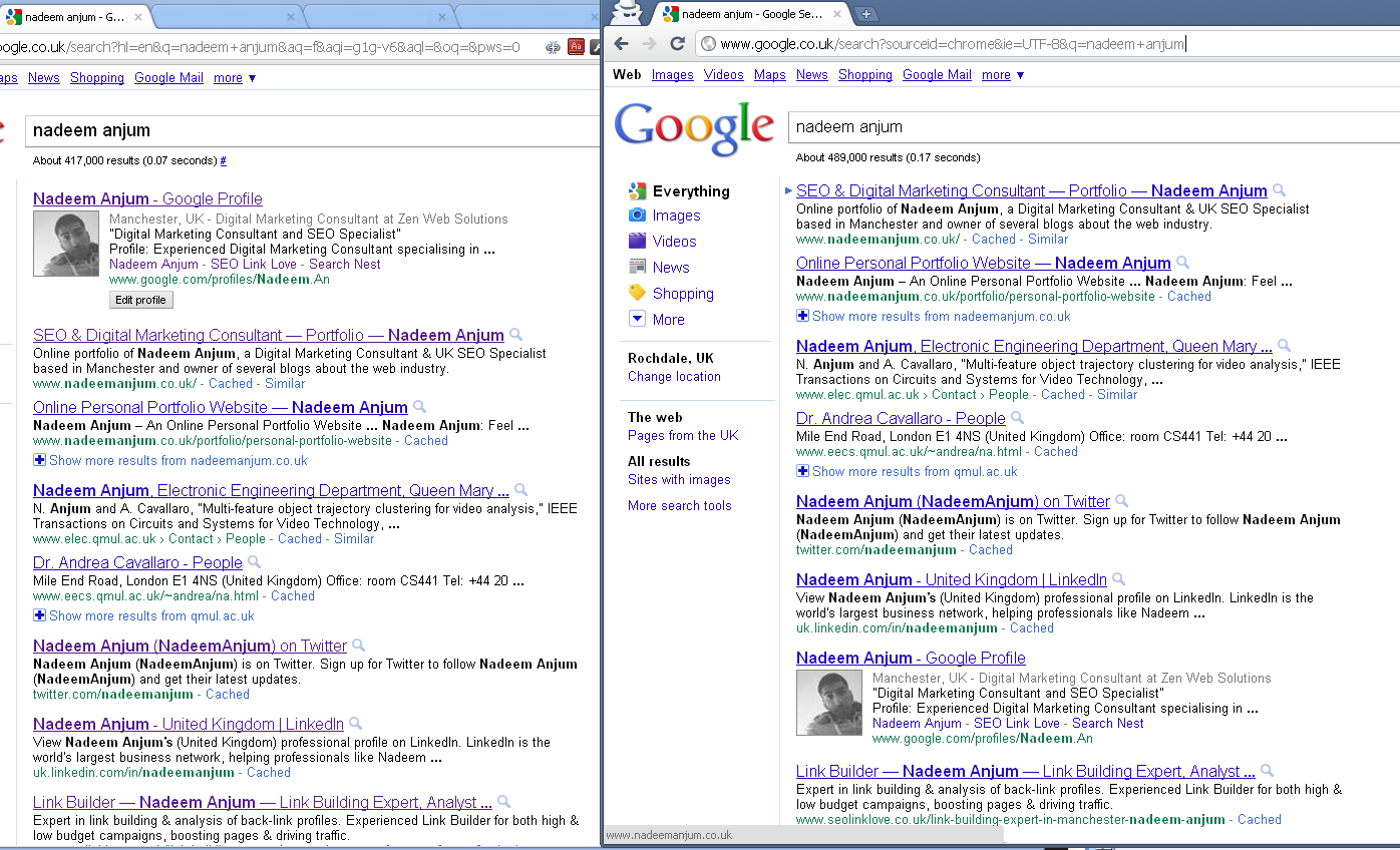 Google Profile in Search Results for Chrome - Screenshot