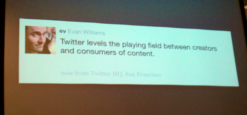 Twitter levels the playing field between creators and consumers of content.